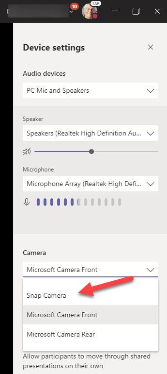 Selecting Snap camera for a Teams meeting