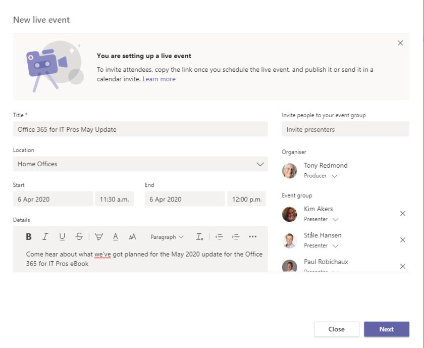 Creating a Teams Live Event