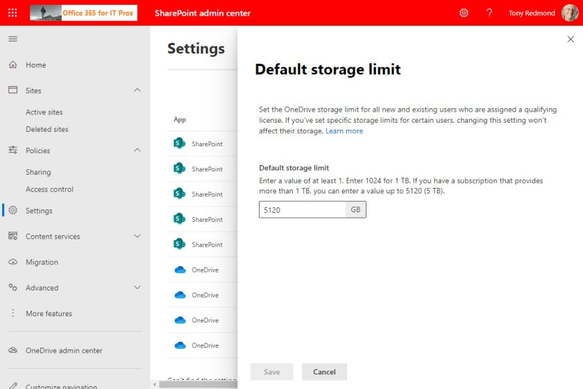 Setting a default storage limit for OneDrive for Business accounts