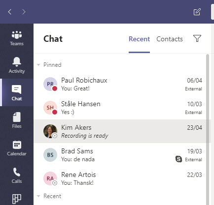 Teams pinned chats appear at the top of the chat list