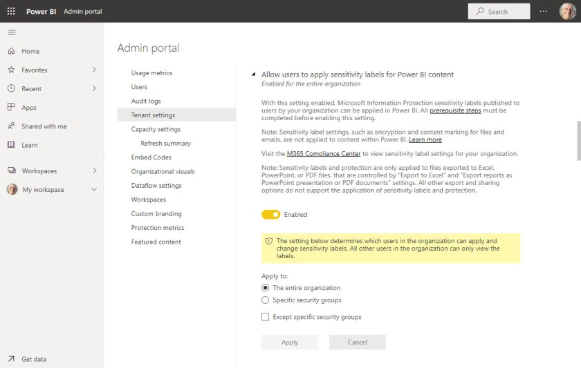 Enable sensitivity label support for Power BI in an Office 365 tenant
