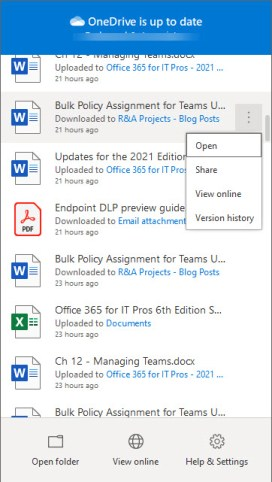 File options in the OneDrive sync client
