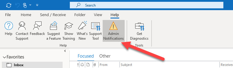 Access admin notifications through Outlook help