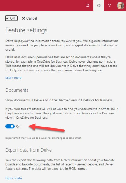 Delve feature settings