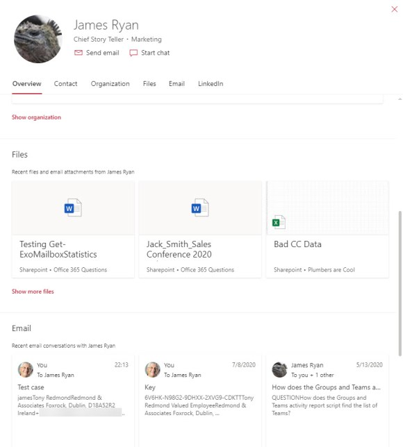 The Office 365 profile card with document insights