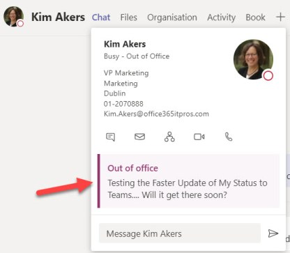 Out of office notification from Exchange shows up in Teams