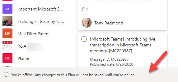 Planner notices that it's offline