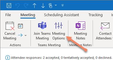 Teams meeting options in the Teams Meetings add-in