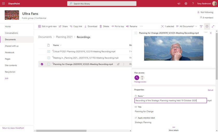 Teams meeting recordings in a SharePoint Online folder