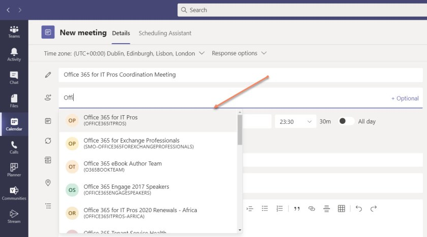 Scheduling a Teams meeting with Microsoft 365 Groups