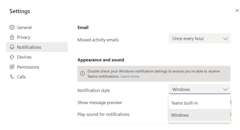 Choosing between Teams and Windows notifications