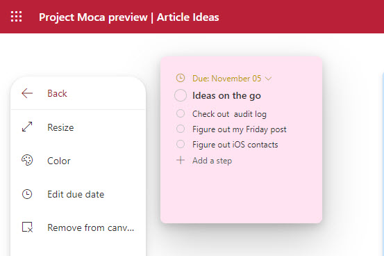 Moca displays an updated To Do task
