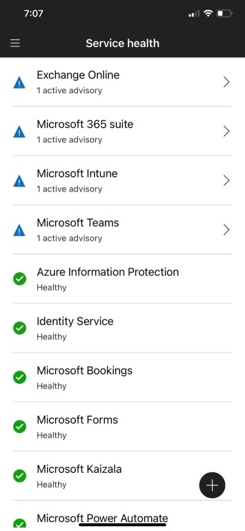 Incidents listed on the Microsoft 365 admin mobile app