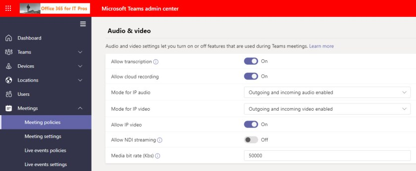 Teams meeting policy settings to control transcription and recording