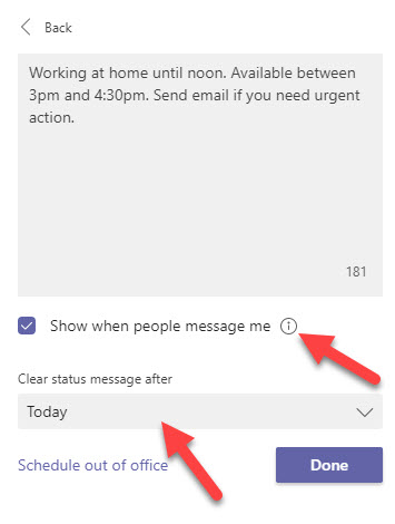 Setting a daily status message to let other Teams users know what you're doing