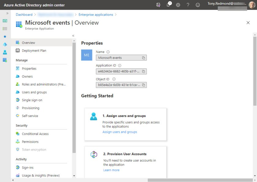 Checking app registration details in the Azure AD admin center