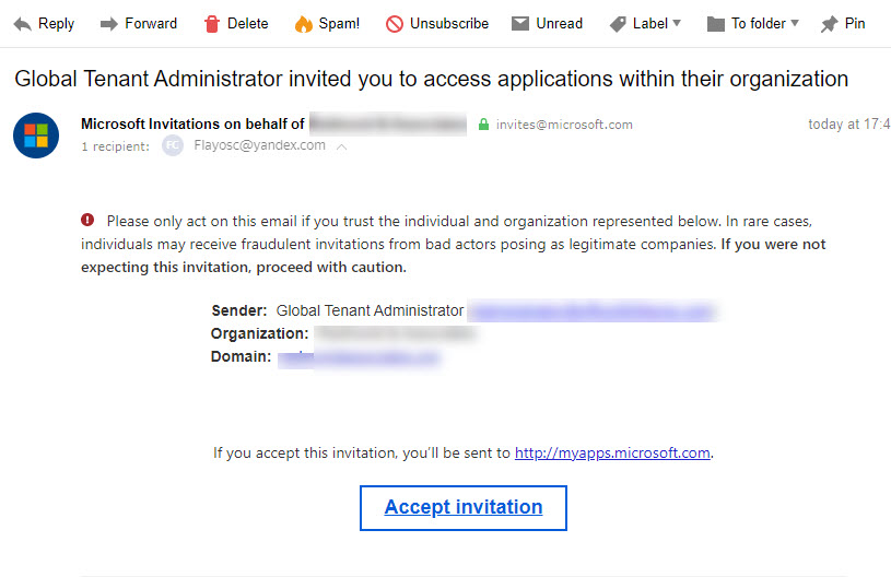 The invitation from Azure B2B Collaboration arrives at the new email address