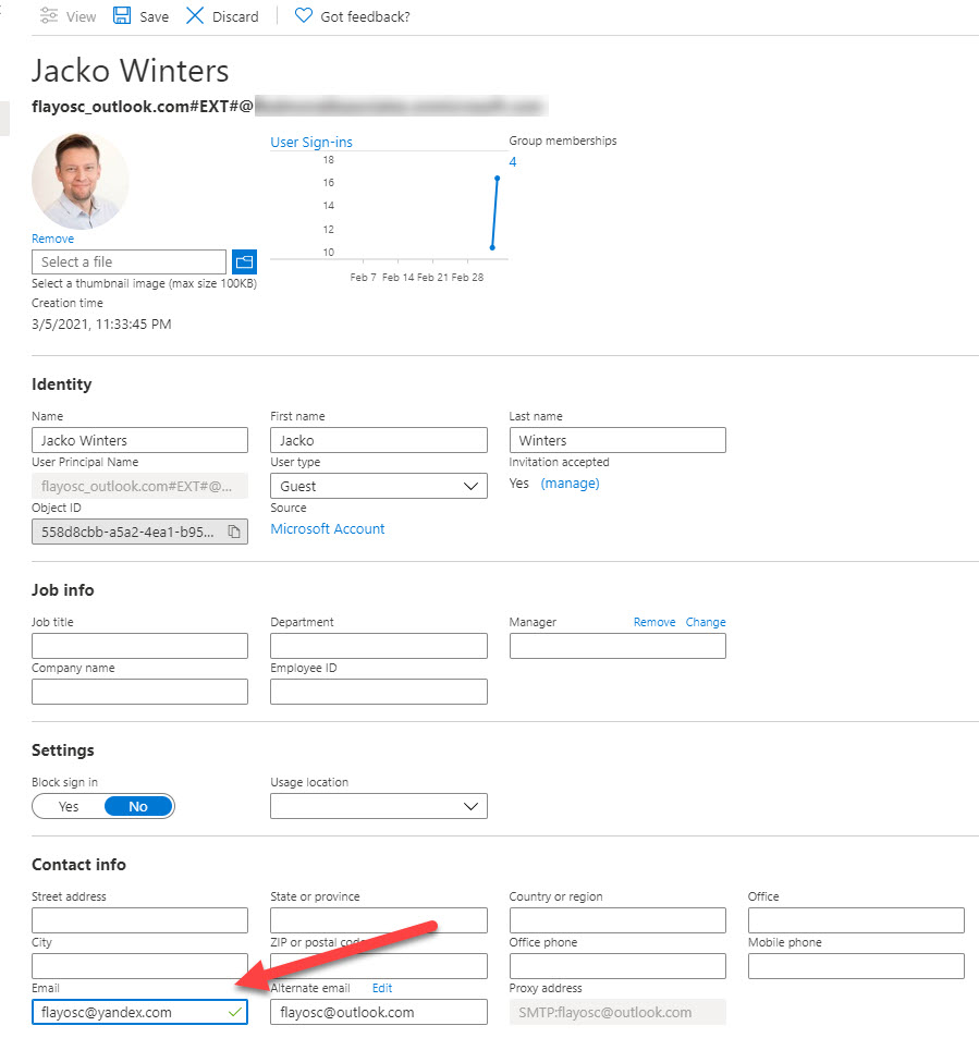 Resetting the Sign-In Address for an Azure AD Guest Account