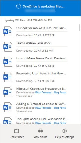The OneDrive sync client downloads files from SharePoint Online