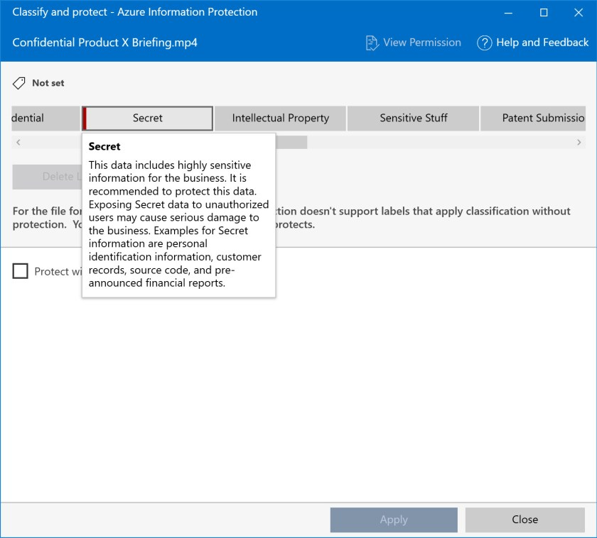 Choosing a sensitivity label for the unified labeling client to apply to a Teams meeting recording
