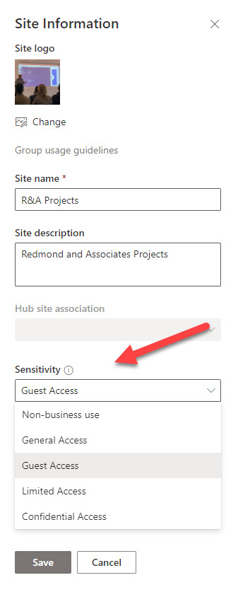 Choosing a sensitivity label for a SharePoint Online site