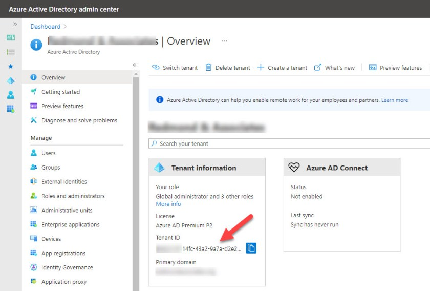 The tenant identifier is included in the tenant information in the Azure AD portal