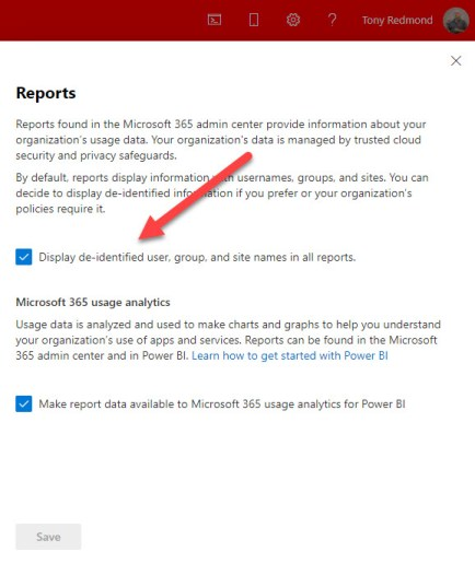Reports setting in the Microsoft 365 admin center