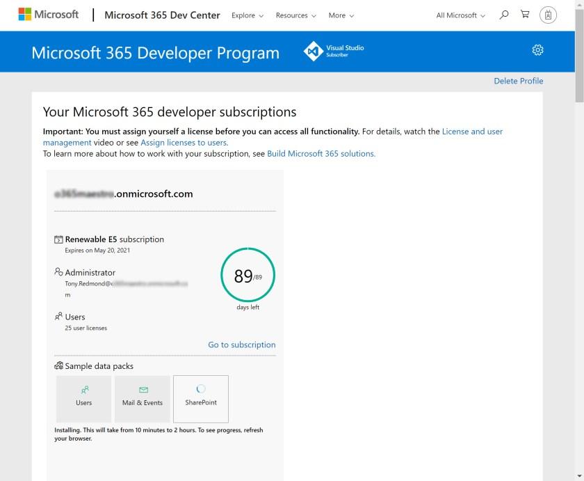 Details of a Microsoft developer tenant