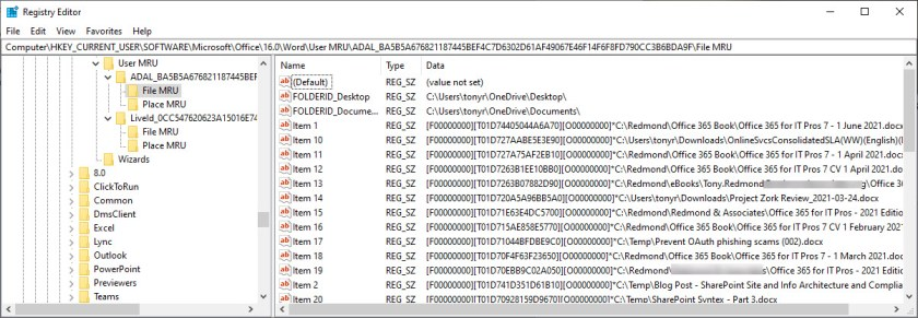 The Word MRU stored in the Windows system registry
