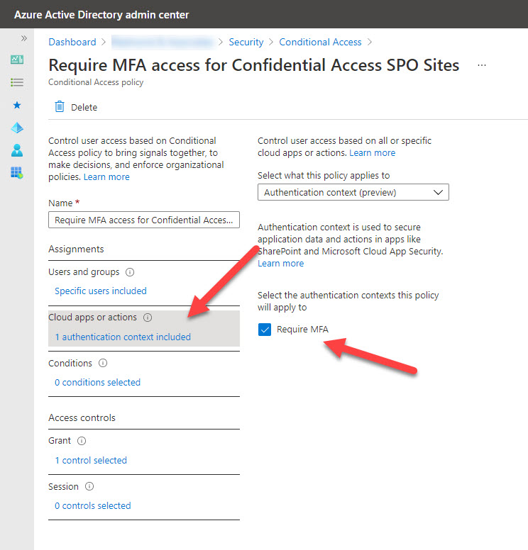 A conditional access policy with an authentication context