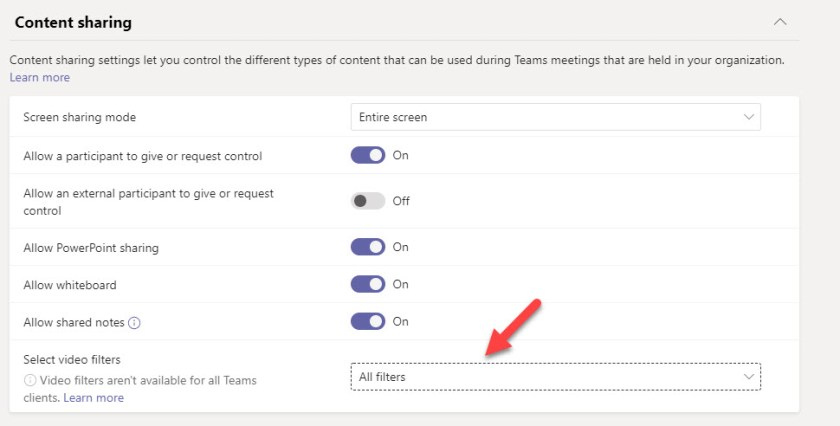 Video filters setting in a meeting policy as shown in the Teams admin center