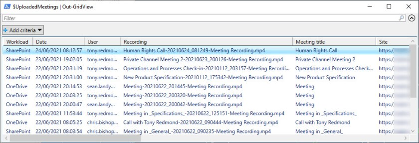Viewing audit log data for the creation of Teams meeting recordings