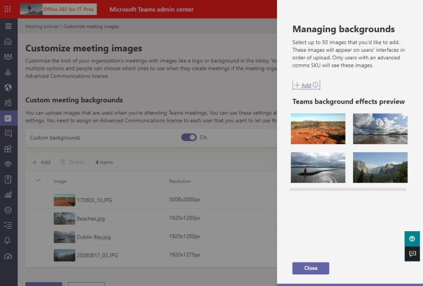A set of organization custom images loaded into the Teams admin center