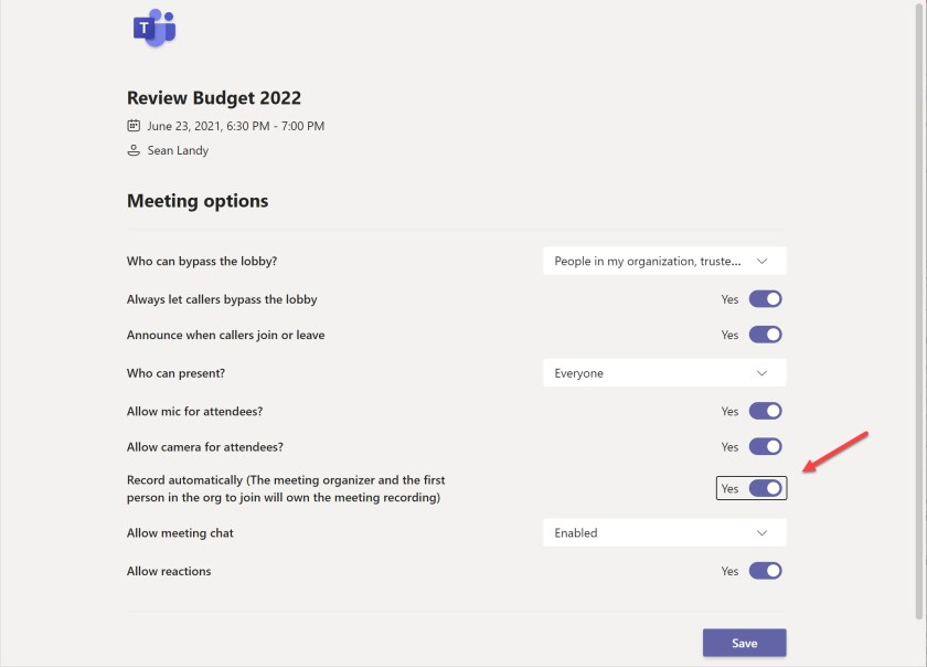 The option to allow a Teams meeting organizer to record a meeting automatically