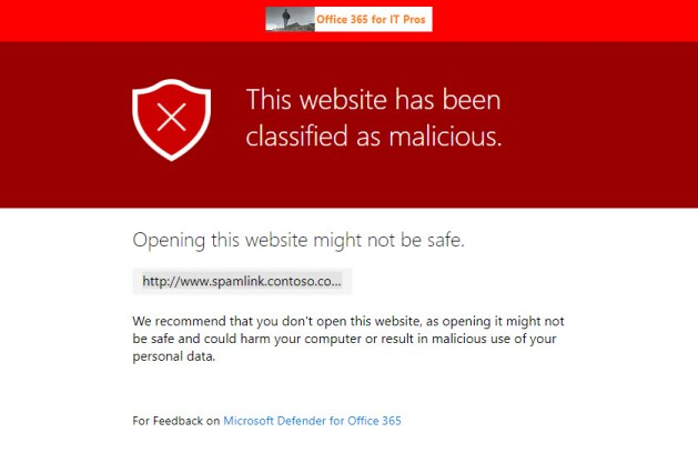 Microsoft Defender for Office 365 warns about a dangerous link