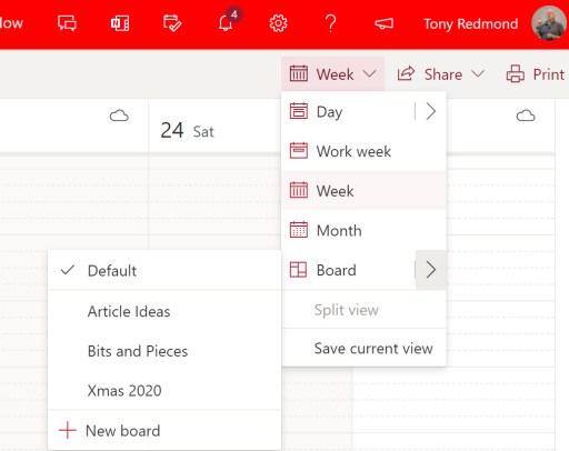 Project Moca Boards are available through the OWA calendar
