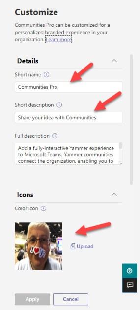 Customizing the properties of the Communities app