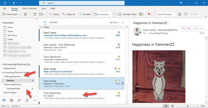 Viewing a Yammer compliance record in Outlook