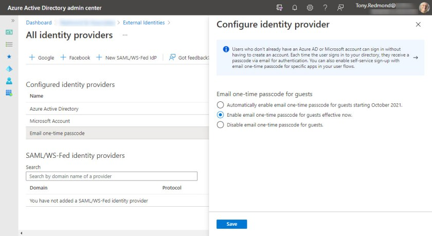 Configuring the Azure AD Email one-time passcode identity provider