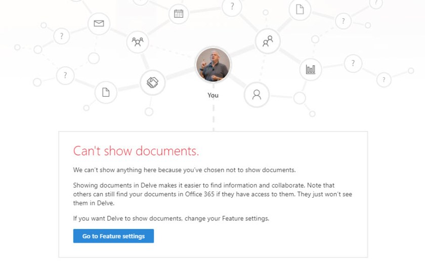 Delve feature settings prevent the display of documents associated with a user