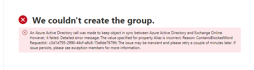 Error when creating a new group with a reserved alias