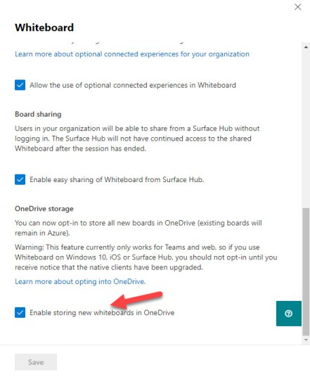 Configuring the Whiteboard settings in the Microsoft 365 admin center to use OneDrive storage
