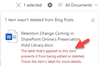 SharePoint Online blocks the deletion of a file due to its retention label