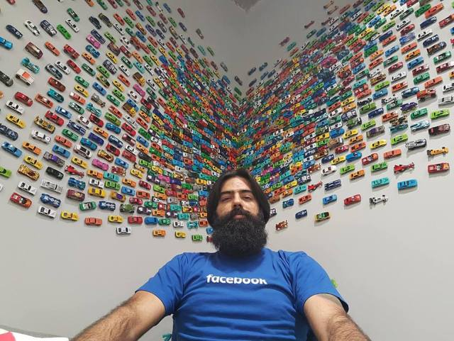 Facebook office cars wall