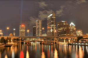 Downtown Tampa Skyline Image taken at dusk from the Water.