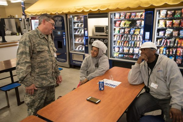U.S. Air Force Maj. Kerry Wentworth, a chaplain from the Kentucky Air National Guard's 123rd Airlift Wing, speaks to workers in a break room at the Pilgrim's chicken processing plant in Mayfield, Ky., July 21, 2016, to help spread the word Bluegrass Medical Innovative Readiness Training. The Kentucky Air National Guard, U.S. Navy Reserve and other military units are teaming with the Delta Regional Authority to offer medical and dental care at no cost to residents in Mayfield and two other Western Kentucky locations from July 18 to 27 as part of the training event. (U.S. Air National Guard photo by Master Sgt. Phil Speck)