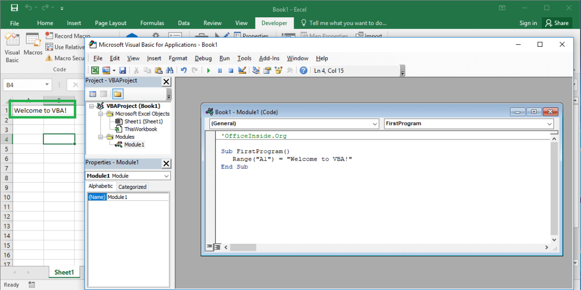 Excel VBA course - How to write first program in VBA Excel?
