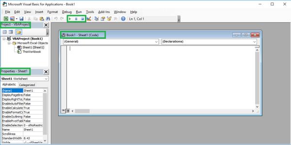 Excel VBA course - VisualBasic Editor elements