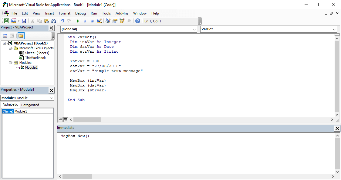 Excel VBA course - String. date and numeric variables in VBA