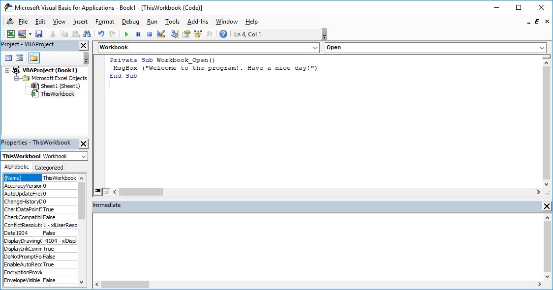 Excel VBA course - MsgBox window